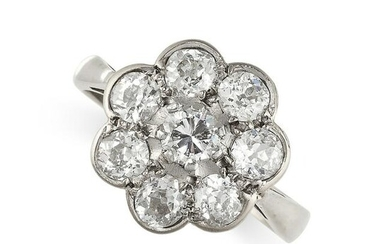 NO RESERVE - A DIAMOND CLUSTER DRESS RING in 18ct white