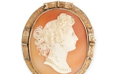 NO RESERVE - AN ANTIQUE SHELL CAMEO BROOCH, LATE 19TH