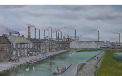Oil on board local interest painting of Etruria Wedgwood Wor...