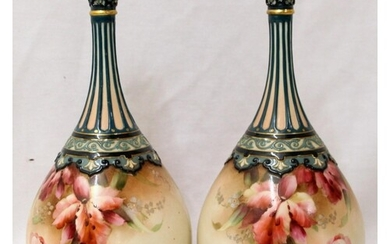 Pair Worcester Hadley's Bottle Vases, marked to base in red ...