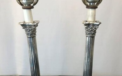 Pair of Early 1900's Silver plated Candlestick Lamps