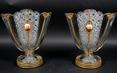 Pair of Glass Fan Vases With Porcelain Plaques