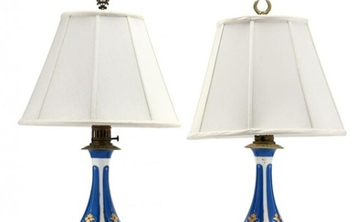 Pair of Paris Porcelain and Brass Table Lamps