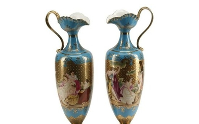 Pair of Vienna Style Porcelain Ewers.