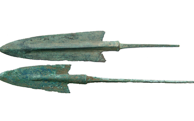 Pair of well-preserved Near Eastern bronze arrow points