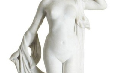 """Pierre Etienne Daniel Campagne (French 1851-1910/1914), a Carrara marble figure """" Phryné devant ses juges"""", Late 19th Century, inscribed ''Phryné' and 'Campagne Sculpteur' on the base, Carved as a naked young woman holding a drape, on integral..."""