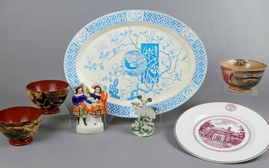 Platter, Bowls, Plate and Staffordshire Figures
