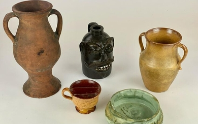 Pottery Group, with Face Jug