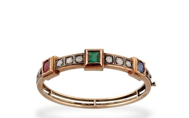 SAPPHIRE, EMERALD, RUBY, GOLD AND SILVER BRACELET