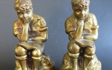 Set of 2 Antique Pewter Reading Boy Bookends 1900s-30