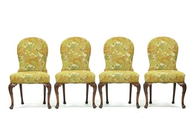 Set of Four Queen Anne Style Upholstered Side Chairs