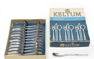 Silver plated tea-spoons (12x) in box, design F. Brusche, executed...