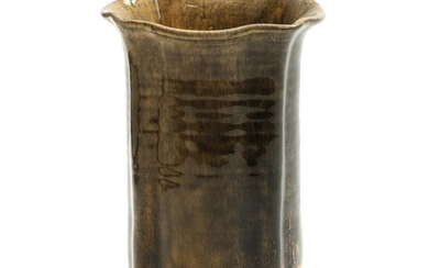 NOT SOLD. Svend Hammershøi: Four sided earthenware vase, decorated with yellow and black glaze. H. 21. Diam. 13 cm. – Bruun Rasmussen Auctioneers of Fine Art
