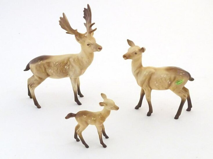 Three Beswick deer comprising Standing Stag, model no.
