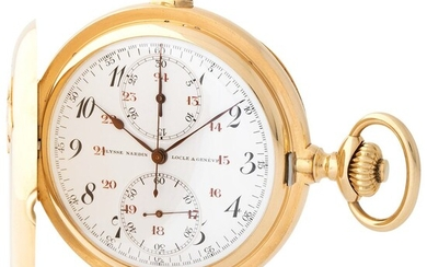 Ulysse Nardin. Very Rare and Fine Open Face Minute Repeater Chronograph Pocket watch in Yellow Gold, With Box, Certificate, Bulletin de Marche and Document