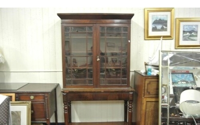 Victorian mahogany bookcase on stand with astragal glazed do...