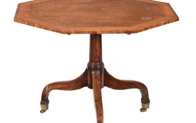Y A George III mahogany and satinwood banded pedestal centre or breakfast table