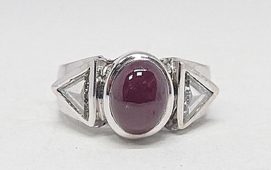 18 kt. White gold - Ring - 3.39 ct Ruby