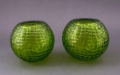 2 Baccarat Crystal Green Round Vases