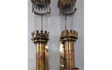 2 x VICTORIAN STYLE 'GWR' COACH CANDLE LAMPS TALLEST 14 INCH...