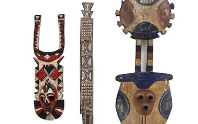 (3) LARGE PAINTED AFRICAN MASKS