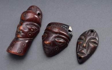 "3 Lega amulet pendants ""Masks"", ivory with old patina, DR..."