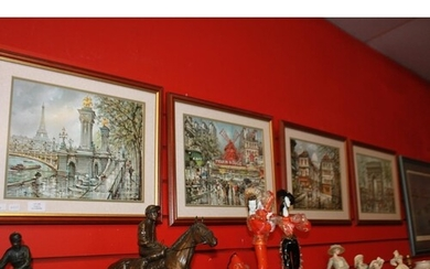 4 x various framed french scene prints by artist j cheinguit