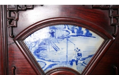 A Chinese six panel hongmu folding room divider with blue & ...