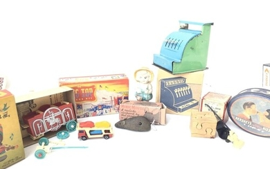 A Collection of Vintage toys including A Minic Mouse in repr...