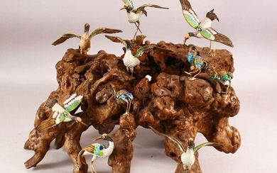 A LARGE 19TH / 20TH CENTURY CHINESE CLOISONNE BIRDS ON ROOT ...