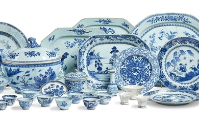 A LARGE GROUP OF CHINESE BLUE AND WHITE EXPORT PORCELAIN, MOST 18TH CENTURY