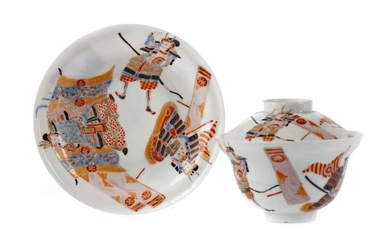 A LATE 19TH CENTURY JAPANESE KUTANI VASE, ALONG WITH THREE BOWLS AND A TEAPOT