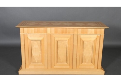 A Linley Attica sycamore sideboard, inlaid with a parquetry ...