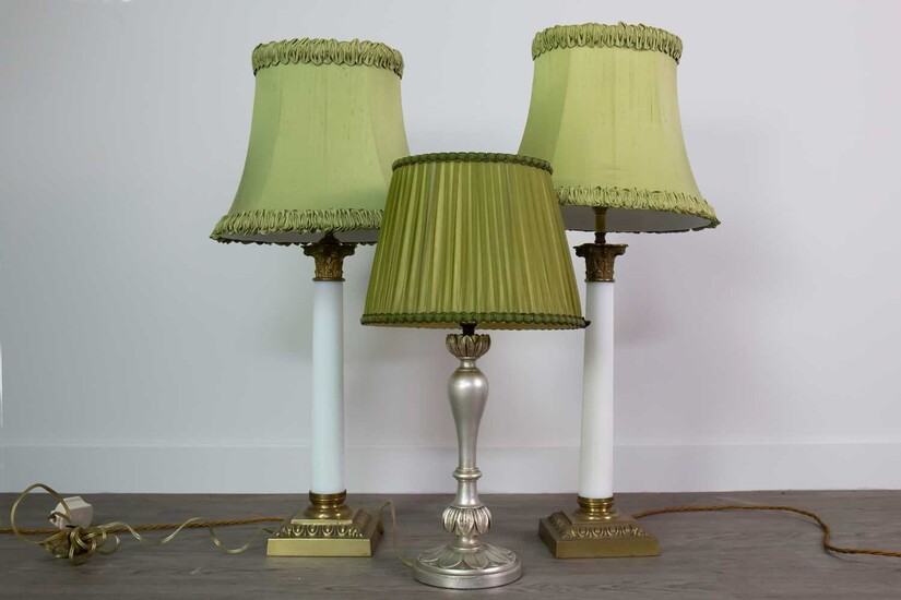 A PAIR OF OPAQUE GLASS AND BRASS CORINTHIAN PILLAR TABLE LAMPS, ALONG WITH ANOTHER TABLE LAMP