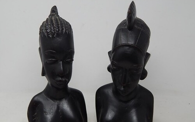 A Pair of Antique African Hardwood Tribal Busts: Tallest 30c...