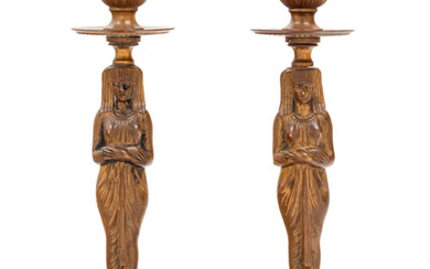 A Pair of Egyptian Revival Bronze Figural Candlesticks
