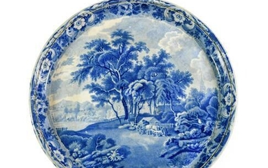 A Pearlware Cheese Stand, circa 1820, of circular form, printed...