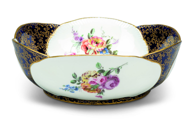 A SEVRES PORCELAIN BLEU LAPIS-GROUND SALAD-BOWL FROM THE SERVICE PRESENTED BY LOUIS XV TO THE DUKE AND DUCHESS OF BEDFORD (SALADIER A FEUILLES DE CHOUX, 1ERE GRANDEUR)