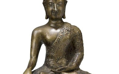 A Thai bronze figure of Shakyamuni Buddha, 19th century, cast in dhyanasana on a base decorated with lotus leaves, his right hand in bhumisparshamudra, his left hand in varadamudra, 22cm high