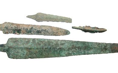 A group of 4 Near Eastern bronze blades