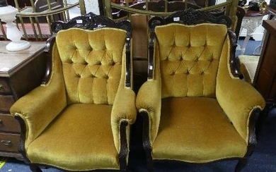 A late Victorian rosewood upholstered three piece Parlour Su...