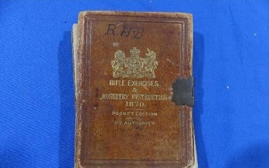 An 1870 Victorian leather bound pocket edition 'Rifle Exerci...