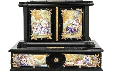 Antique Austrian Enamel and Bronze Fitted Jewelry Box