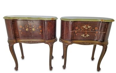 Antique French Louis XV style tables with an onyx top