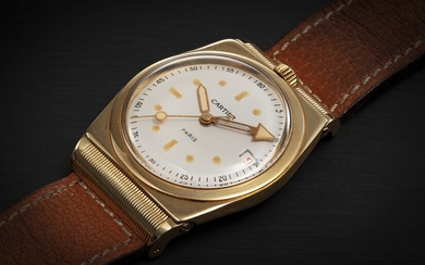 CARTIER, A RARE 18K GOLD TONNEAU-SHAPED AUTOMATIC WRISTWATCH WITH HINGED HOODED LUGS