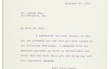 COOLIDGE, CALVIN. Typed Letter Signed, as