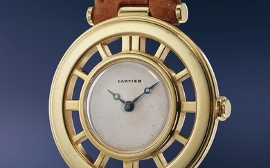Cartier, An attractive and well-preserved yellow gold helm-shaped wristwatch