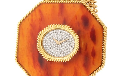 Chopard. Oversize and very Attractive Tortoise Shell Diamond Wristwatch in Yellow Gold