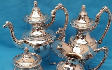Coffee and tea service (4) - .800 silver - Italy - Mid 20th century