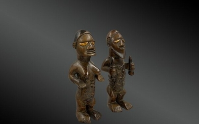 Couple of statuettes - Wood - Bembe - Congo DRC